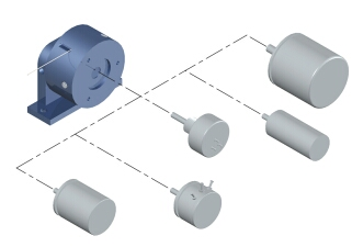 Inductive, encoder, potentiometric, synchro, or resolver technologies may be incorporated into cable-actuated displacement sensors